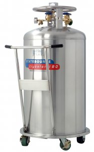 Statebourne Cryogenics 9911075 Cryostor 180 Stainless Steel Low Pressure LN2 Dewars 180 Litres for storage and dispensing liquid nitrogen