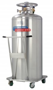 Statebourne Cryogenics 9911087 Cryostor 240 Stainless Steel Low Pressure LN2 Dewars 240 Litres for storage and dispensing liquid nitrogen