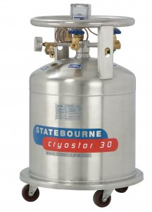 Statebourne Cryogenics 9911025 Cryostor 30 Stainless Steel Cylinders - Low Pressure LN2 Dewars 30 Litres for storage and dispensing liquid nitrogen