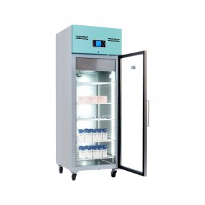 LEC Medical PGR600UK Glass Door Laboratory Pharmacy Refrigerator, 2°C to 8°C Temperature Range, 600 Litres Capacity