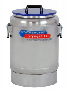Statebourne Cryogenics 9915090 Biostor OD Maxi 25 Stainless Steel Open Dewar , 31 Litres, Includes Handles and Lids