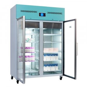 Lec Medical PGR1200UK Standard Glass Door Laboratory Pharmacy Refrigerator, 2°C to 8°C Temperature Range , 1200 Litres Capacity